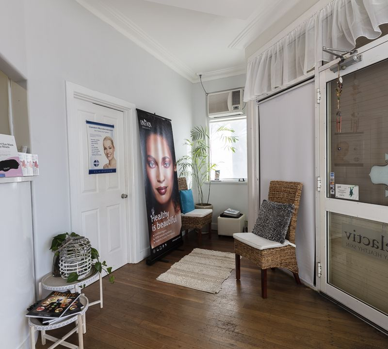 Front of salon waiting area